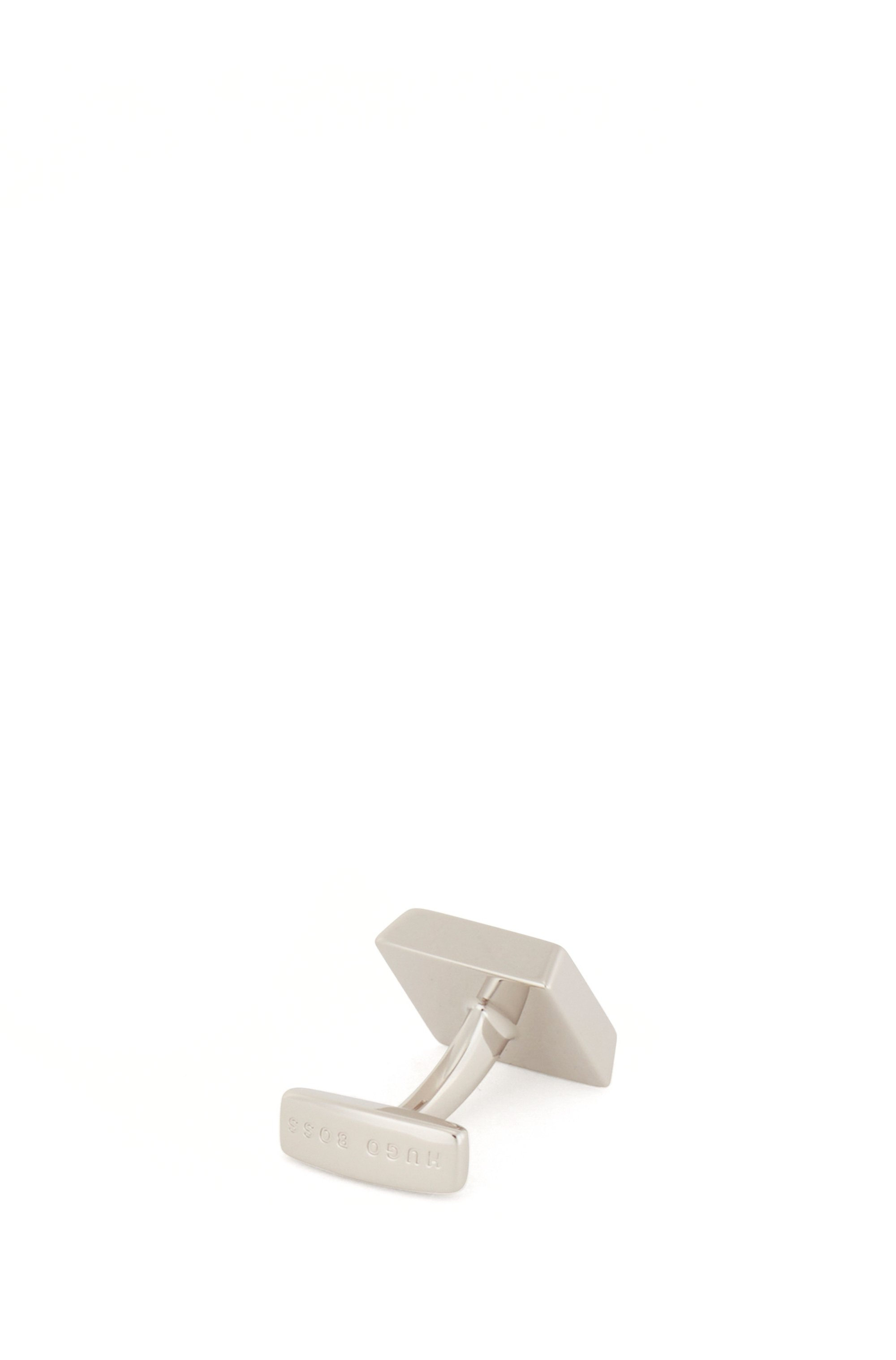 Square cufflinks with enamel insert and engraved logo