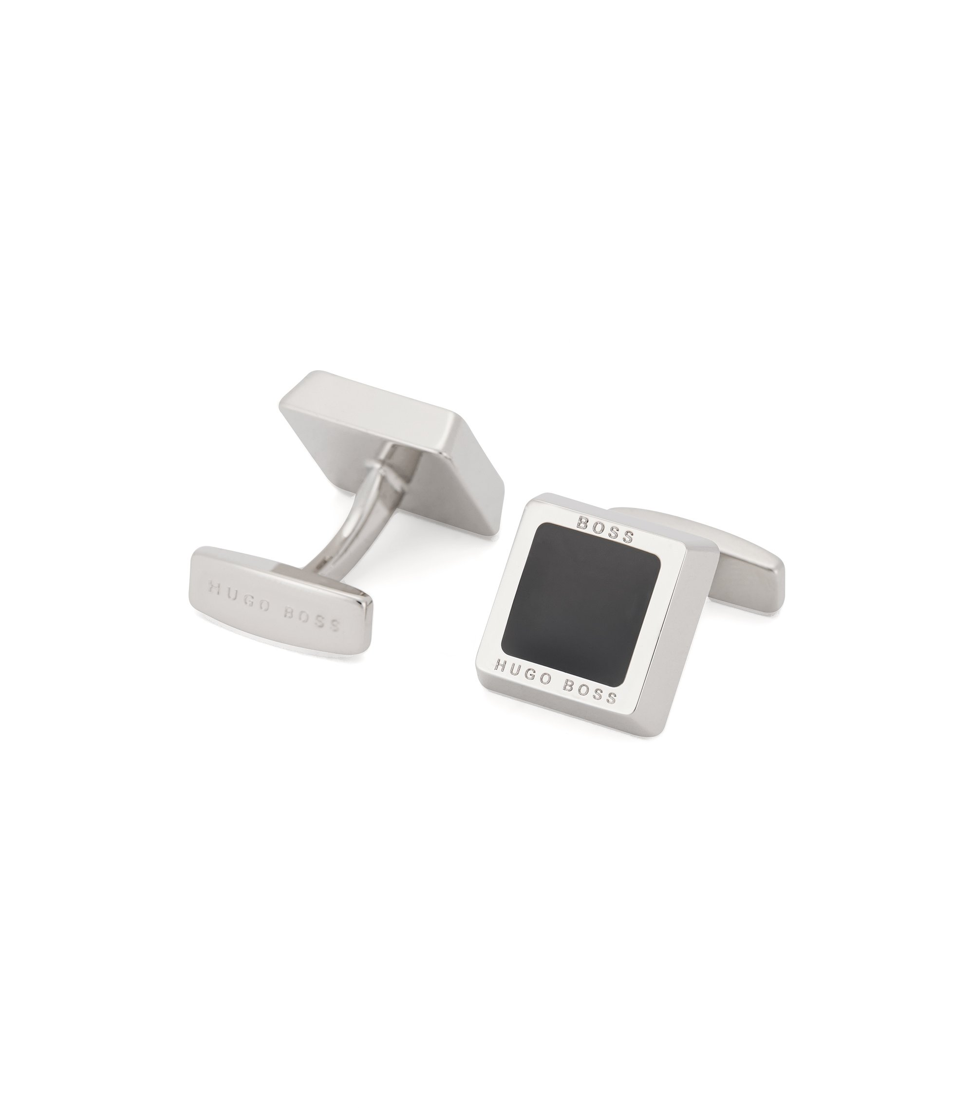 Hand-polished square cufflinks with engraved logo, Black