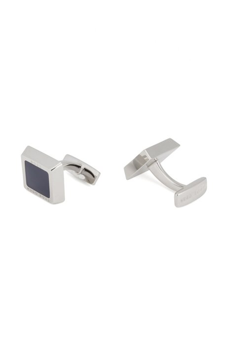Square cufflinks with enamel insert and engraved logo, Dark Blue