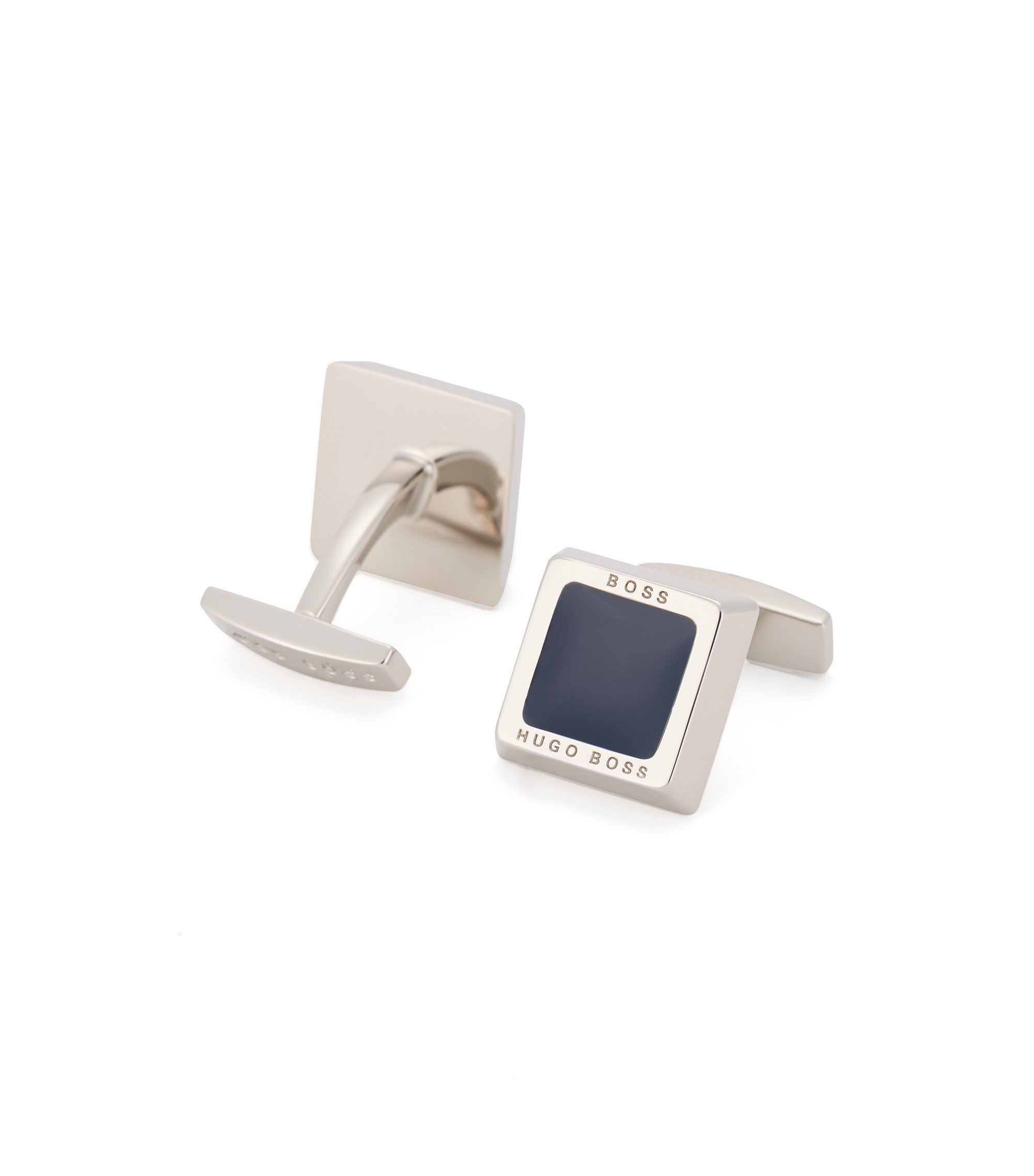 Hand-polished square cufflinks with engraved logo, Dark Blue