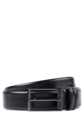 Vegetable-tanned leather belt with gunmetal hardware, Black