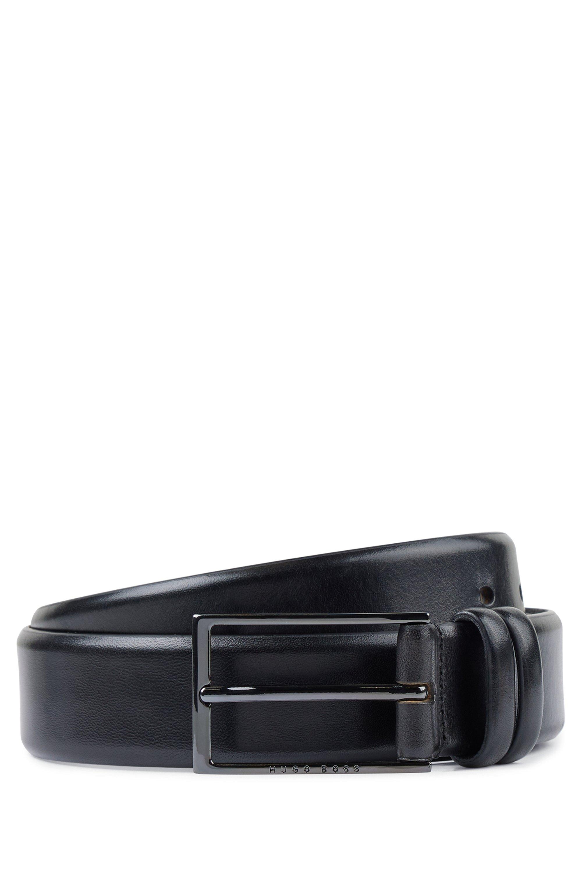 Gürtel aus pflanzlich gegerbtem Leder mit Metall-Details, Schwarz