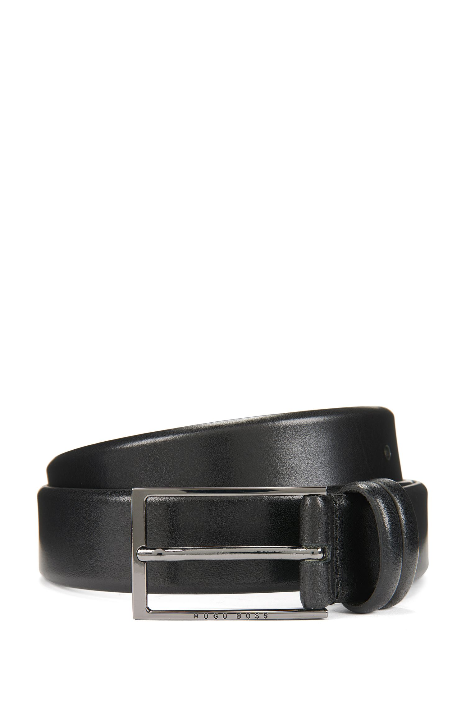 Two-tone belt in vegetable-tanned leather