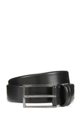 Two-tone belt in vegetable-tanned leather, Black