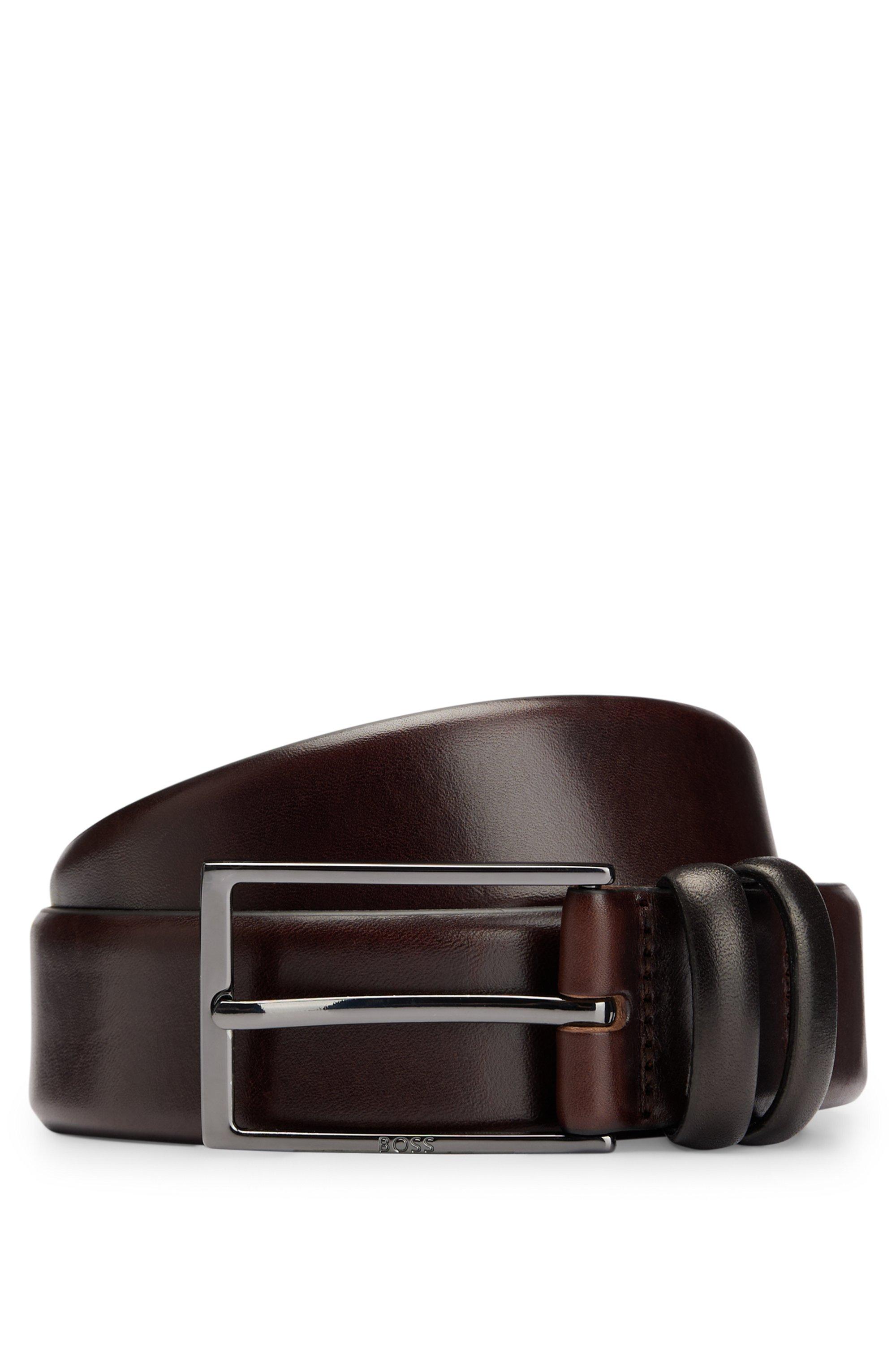 Cinturón de piel de curtido vegetal con herrajes de metal pesado, Marrón oscuro