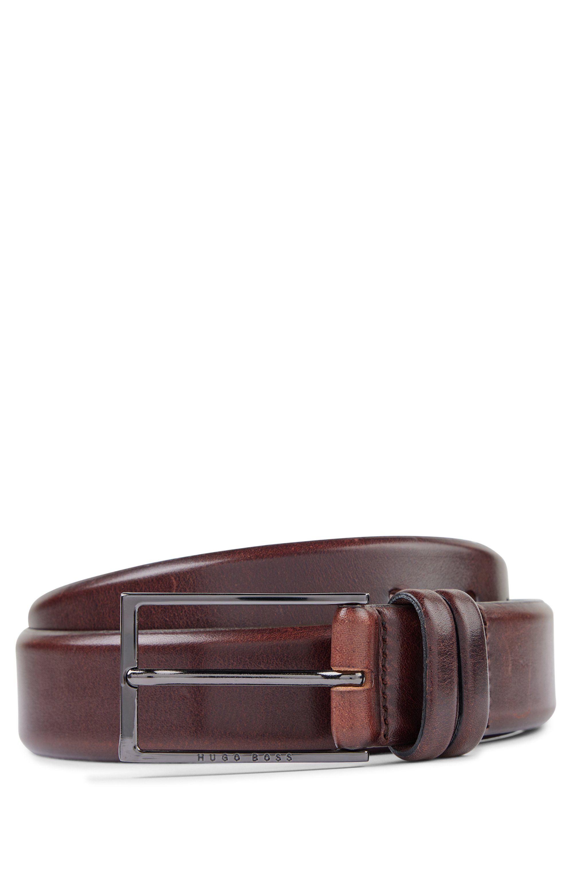 Vegetable-tanned leather belt with gunmetal hardware, Dark Brown