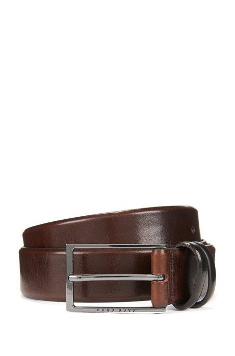 Cinturón a dos tonos en piel de curtido vegetal, Marrón oscuro