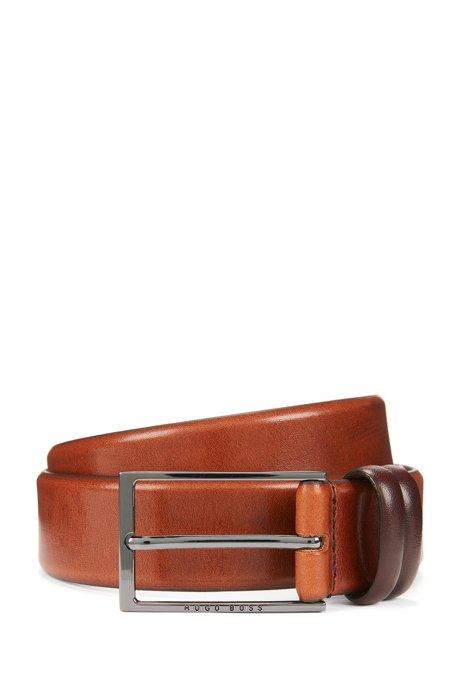 Cinturón a dos tonos en piel de curtido vegetal, Marrón