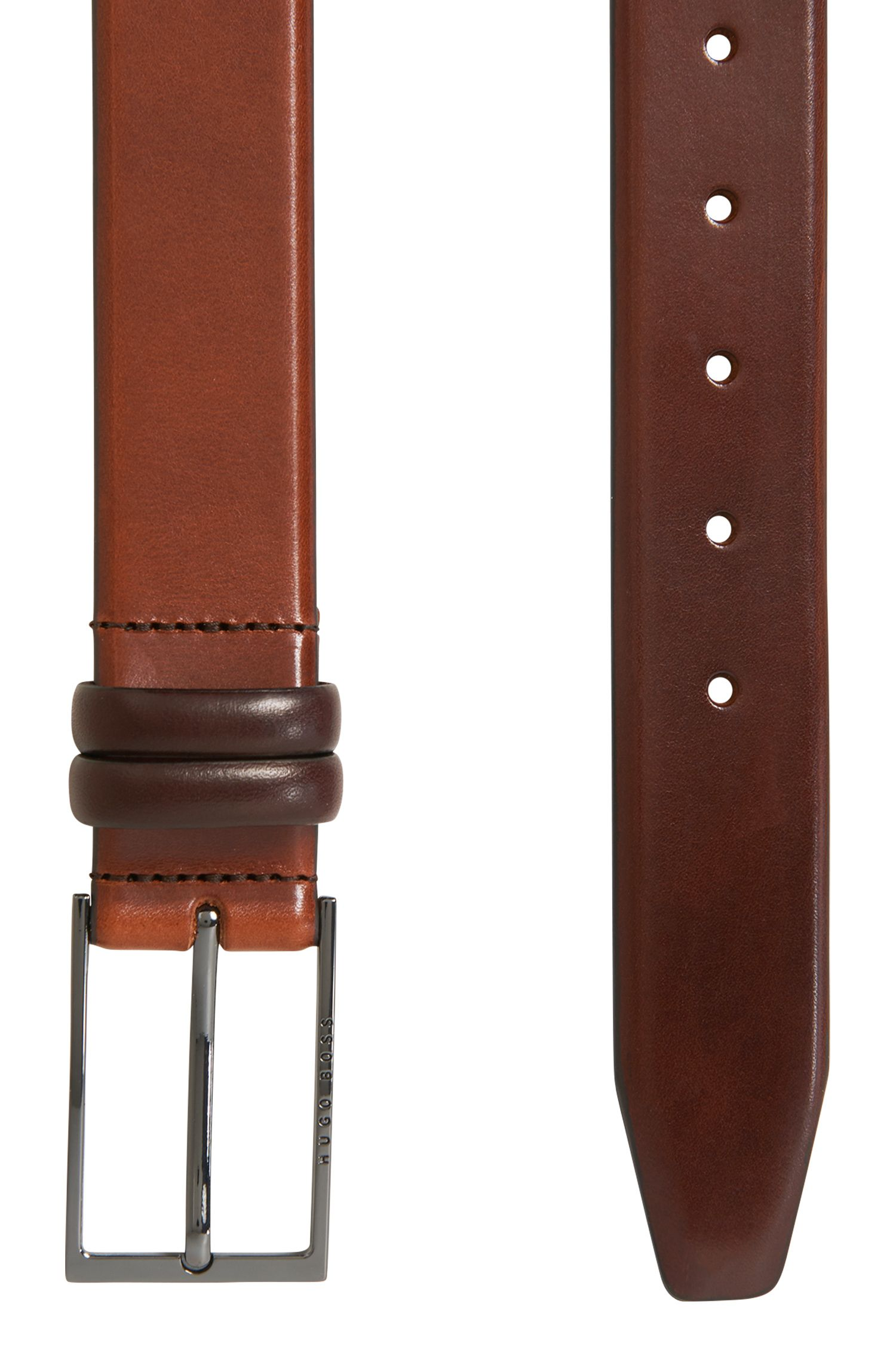 Two-tone belt in vegetable-tanned leather, Brown