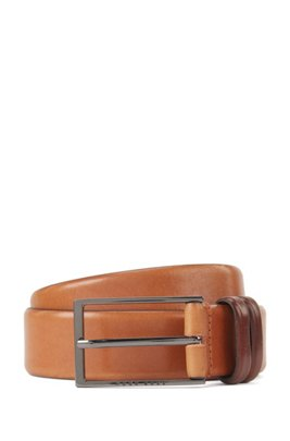 Vegetable-tanned leather belt with gunmetal hardware, Brown