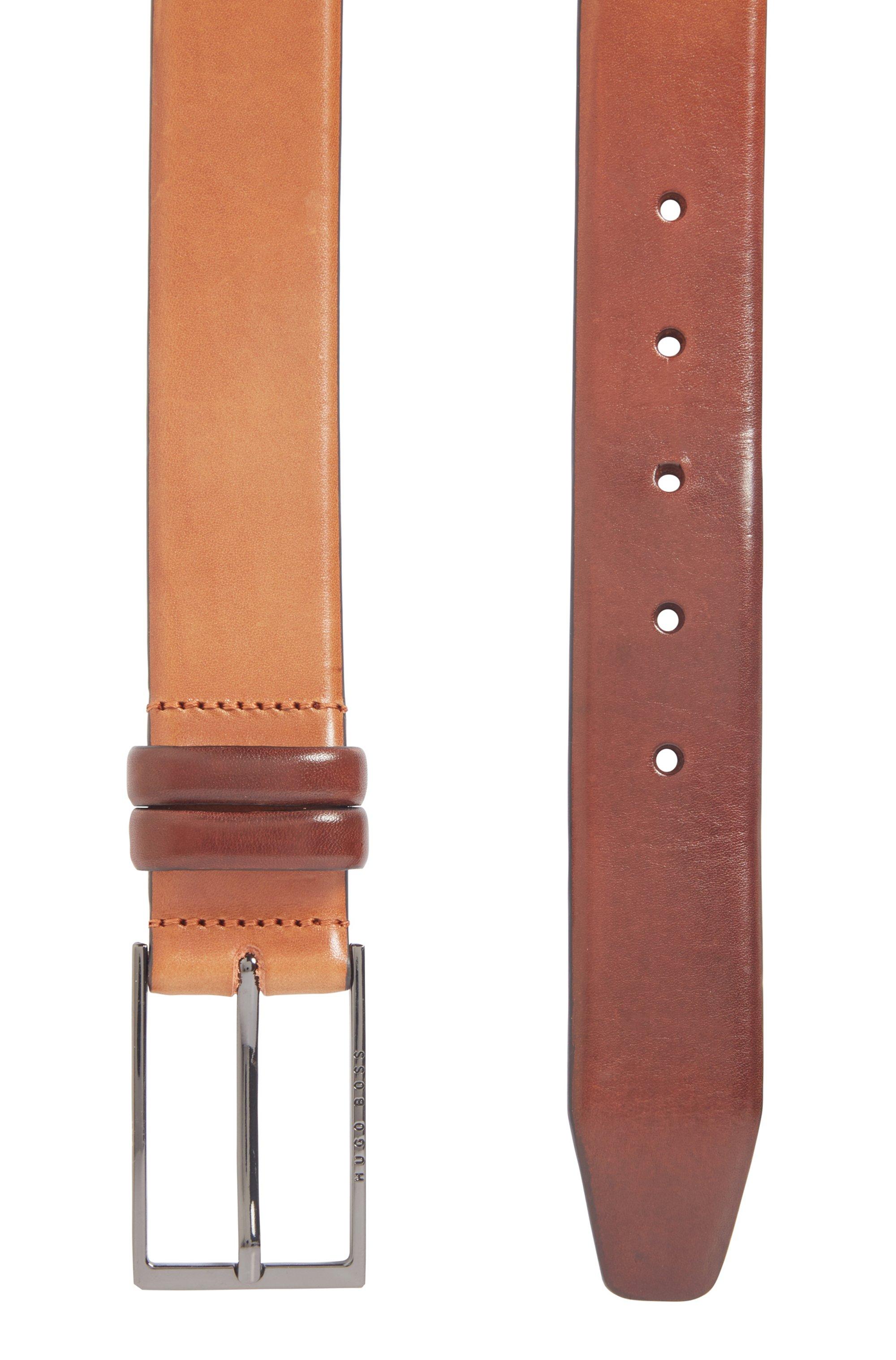 Gürtel aus pflanzlich gegerbtem Leder mit Metall-Details