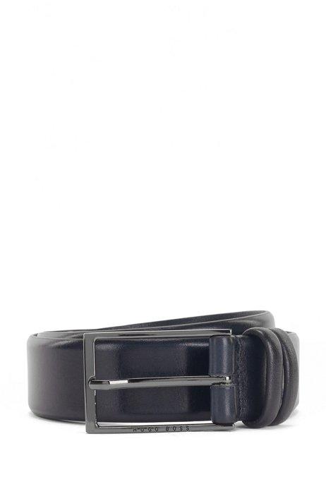 Vegetable-tanned leather belt with gunmetal hardware, Dark Blue