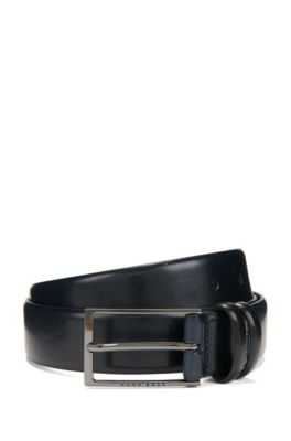 Two-tone belt in vegetable-tanned leather, Dark Blue