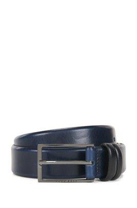 Cintura in pelle conciata al vegetale con dettagli in metallo color canna di fucile, Blu scuro