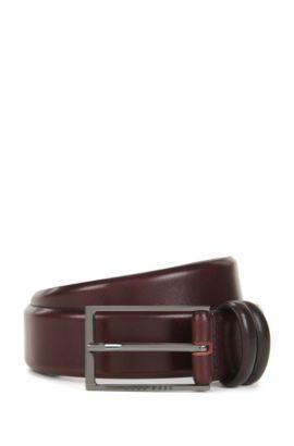 Cintura bicolore in pelle conciata al vegetale, Rosso scuro