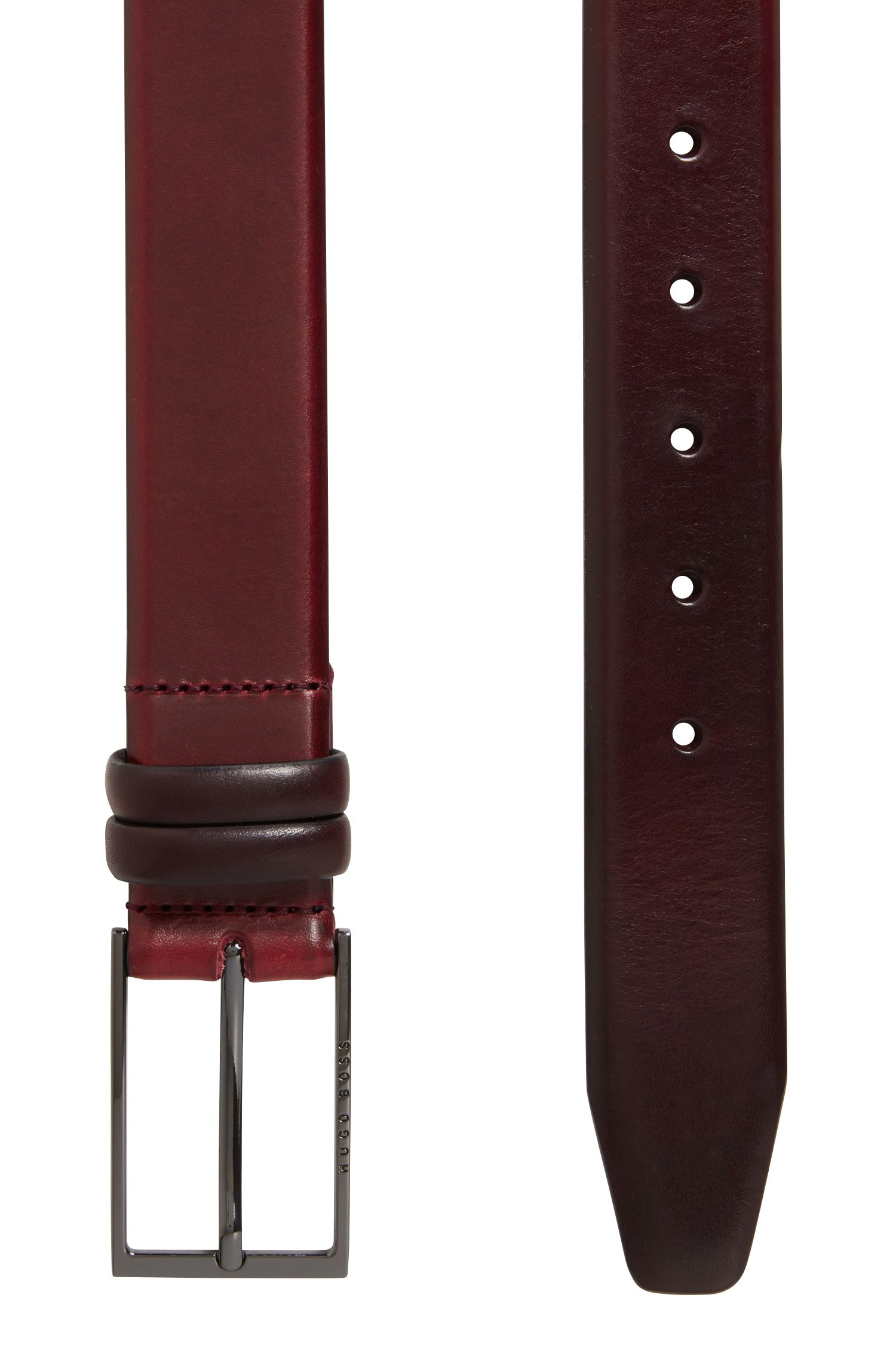 Two-tone belt in vegetable-tanned leather, Dark Red