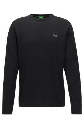 Regular-fit long-sleeved cotton T-shirt, Black