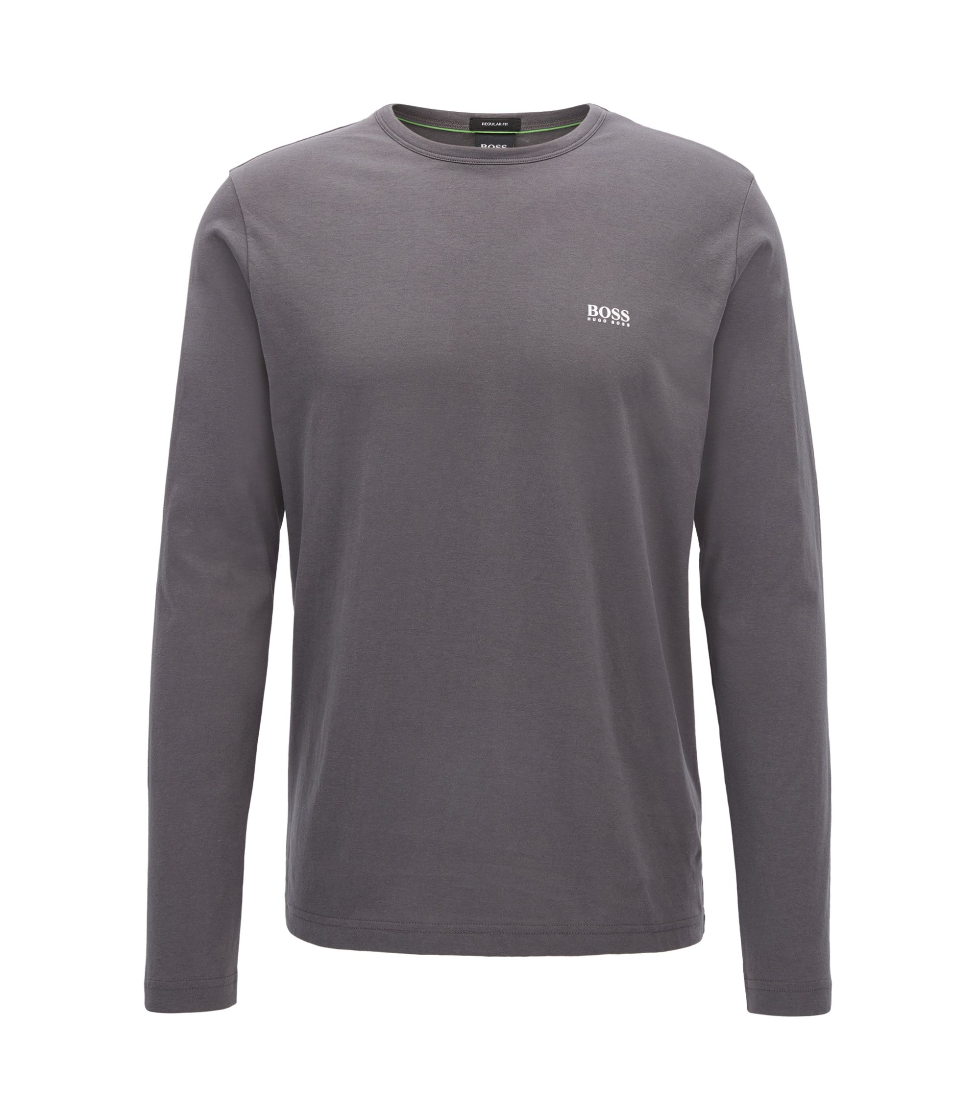 Regular-Fit Longsleeve aus Baumwolle, Anthrazit