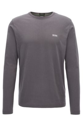 T-shirt Regular Fit à manches longues en coton, Anthracite