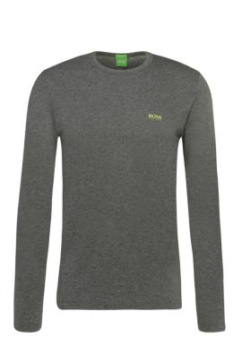 Regular-fit long-sleeved cotton T-shirt, Grey