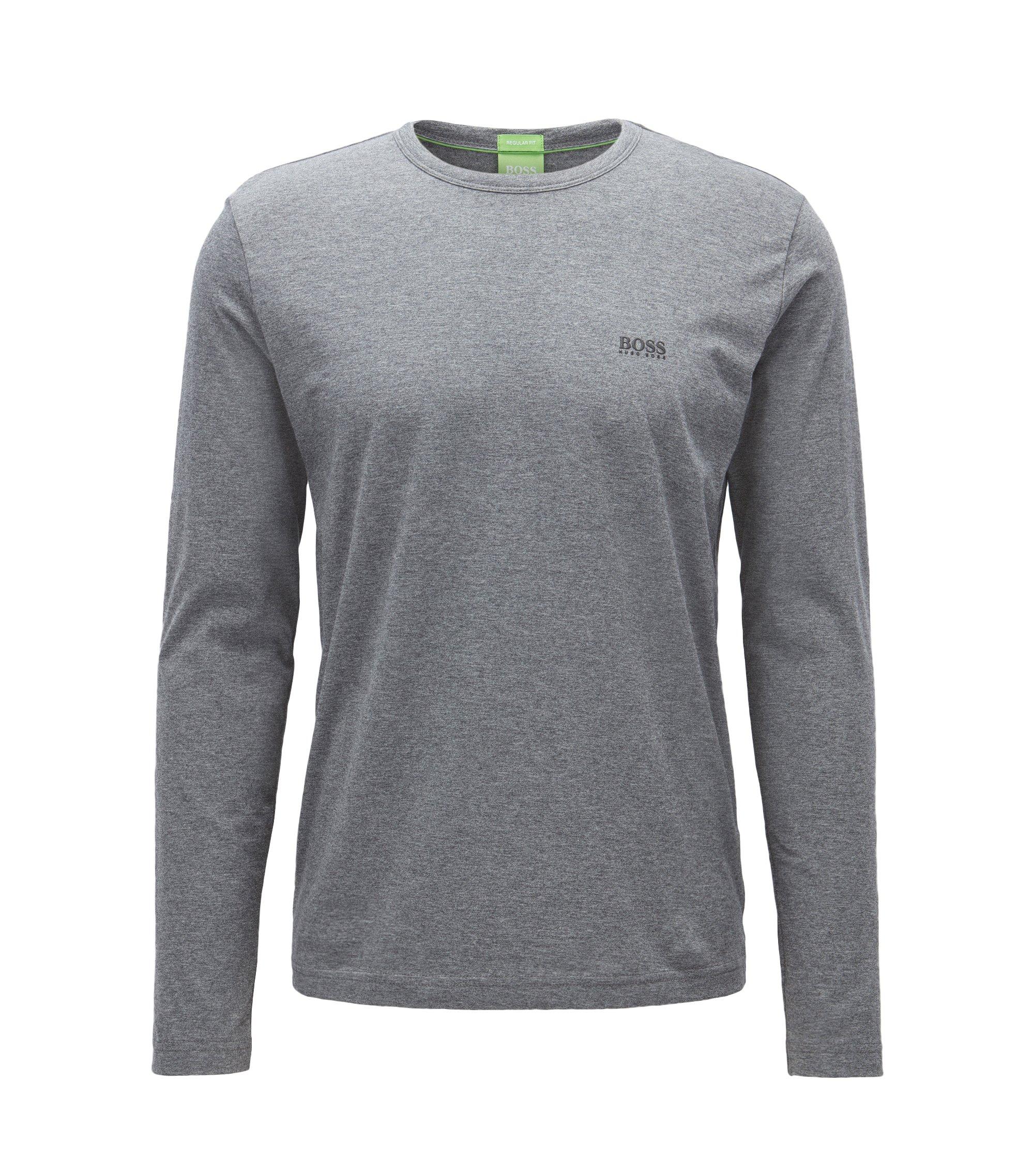 T-shirt regular fit in cotone a maniche lunghe , Grigio