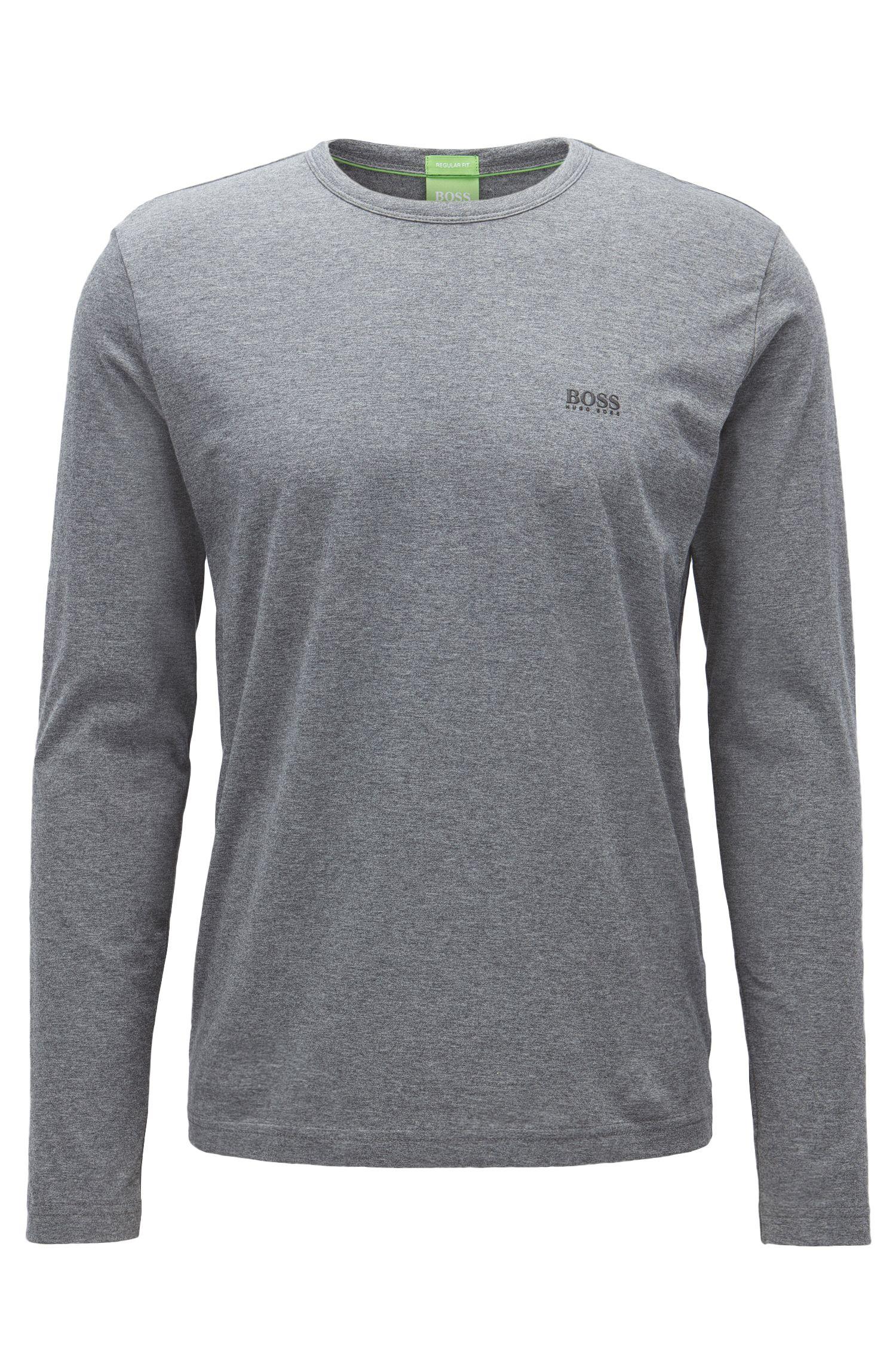T-shirt regular fit in cotone a maniche lunghe