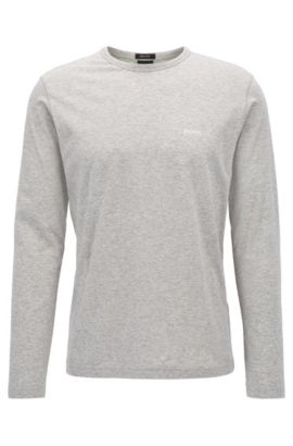 T-shirt Regular Fit à manches longues en coton, Gris chiné