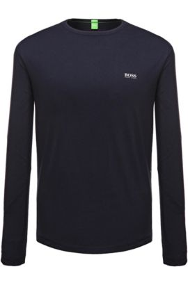 Regular-fit long-sleeved cotton T-shirt, Dark Blue