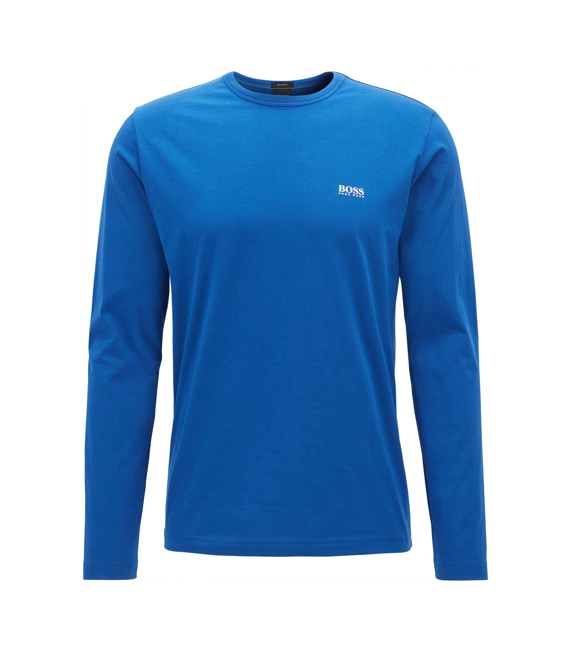 Regular-fit long-sleeved cotton T-shirt, Blue