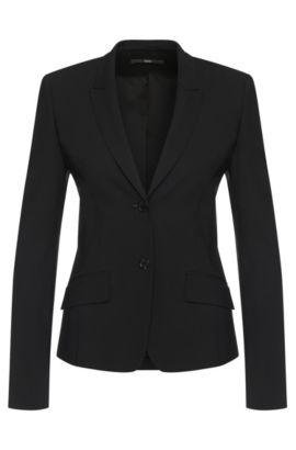 Taillierter Blazer aus Stretch-Schurwolle: 'Jadena', Schwarz