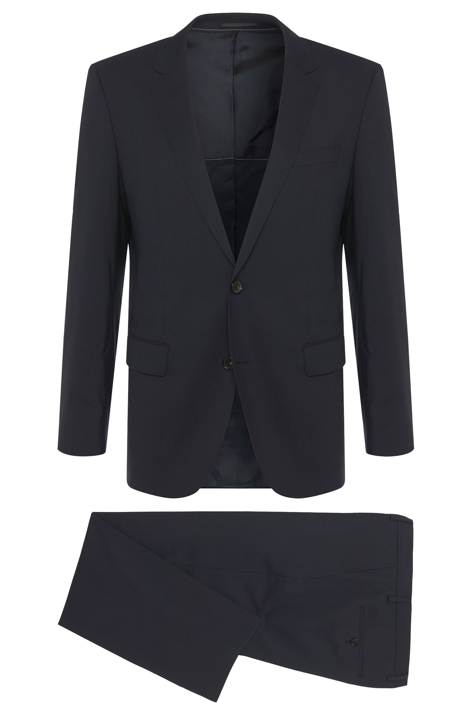Slim-Fit Anzug aus elastischem Schurwoll-Mix: 'Huge1/Genius1'