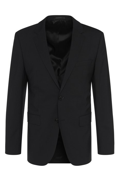 Regular-fit jacket in stretch new wool blend: 'The Rider', Black