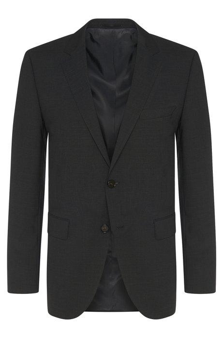 Regular-fit jacket in stretch new wool blend: 'The Rider', Dark Grey