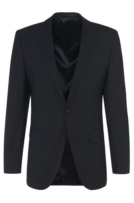 Regular-fit jacket in stretch new wool blend: 'The Rider', Dark Blue