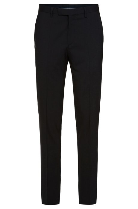 Regular-fit trousers in stretchy new wool: 'Shout', Dark Blue