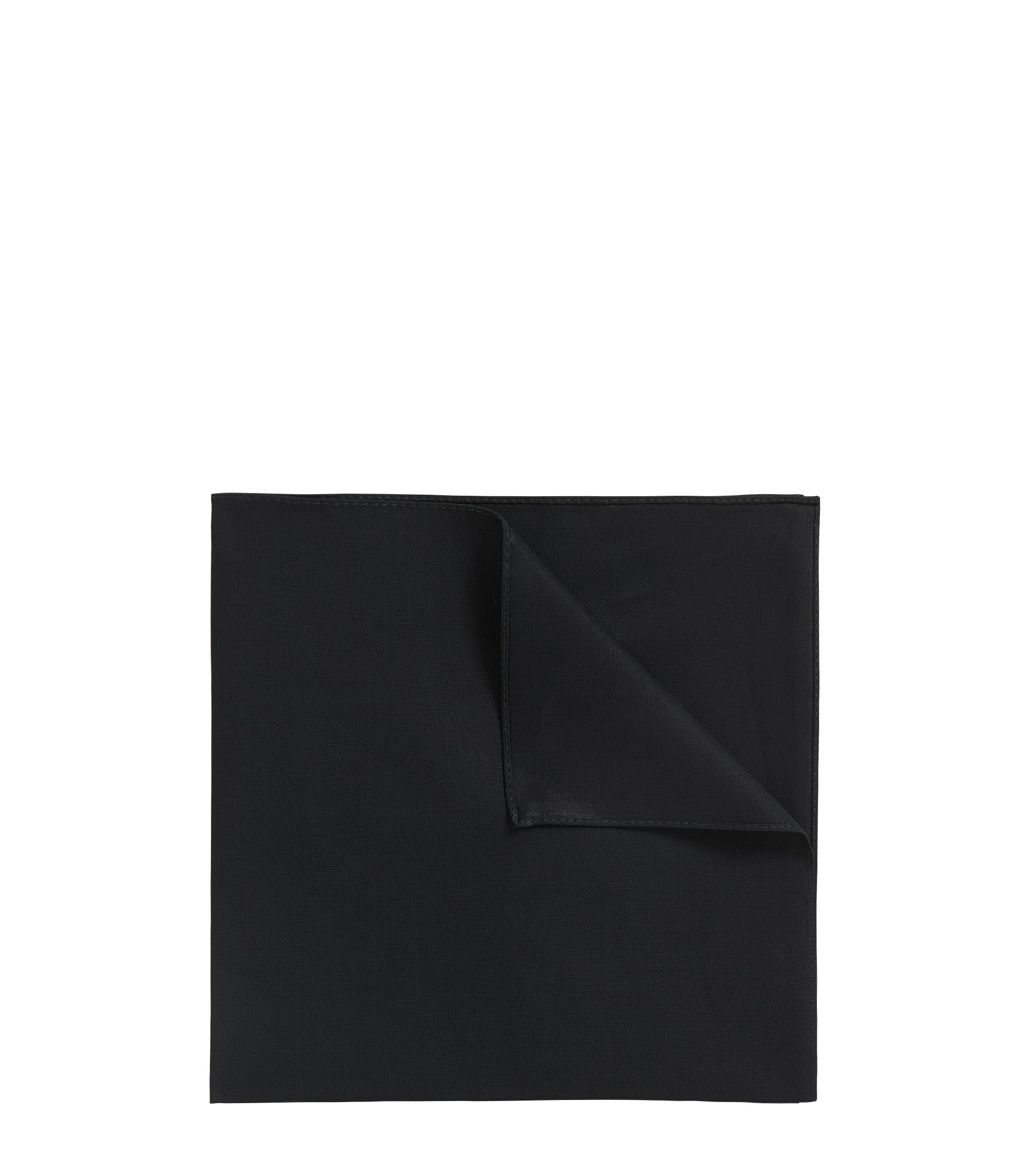 Jacquard pocket square in pure cotton, Black