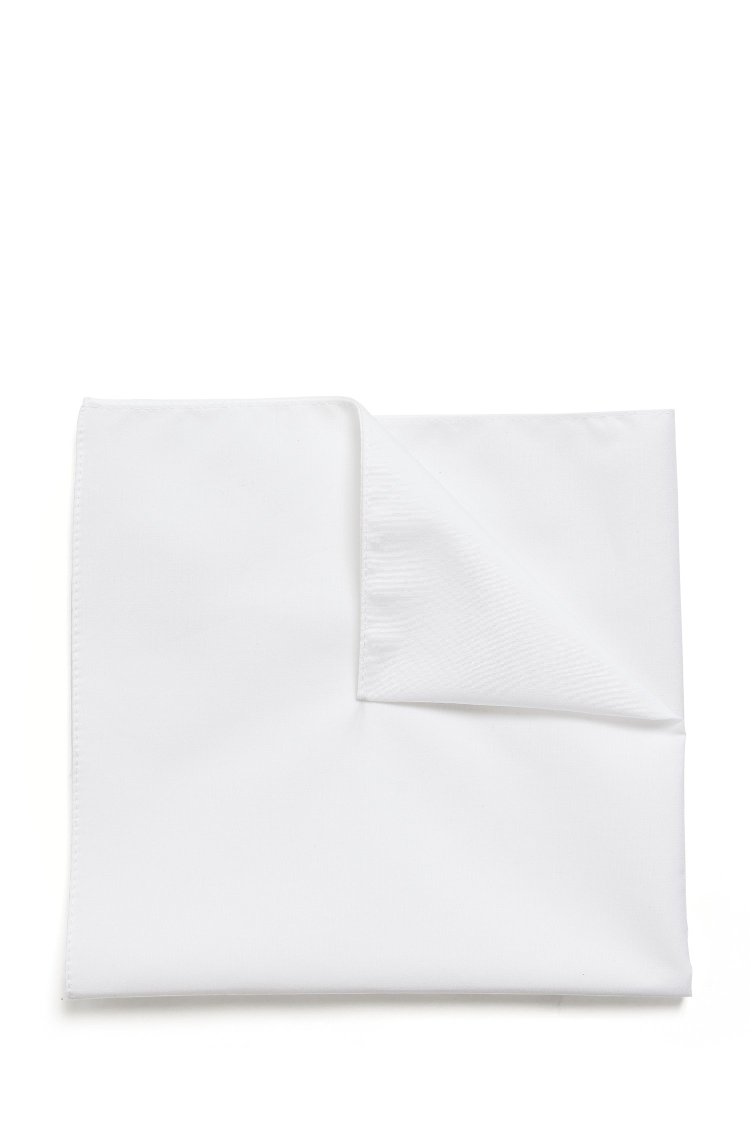 Italian-made pocket square in cotton jacquard, White