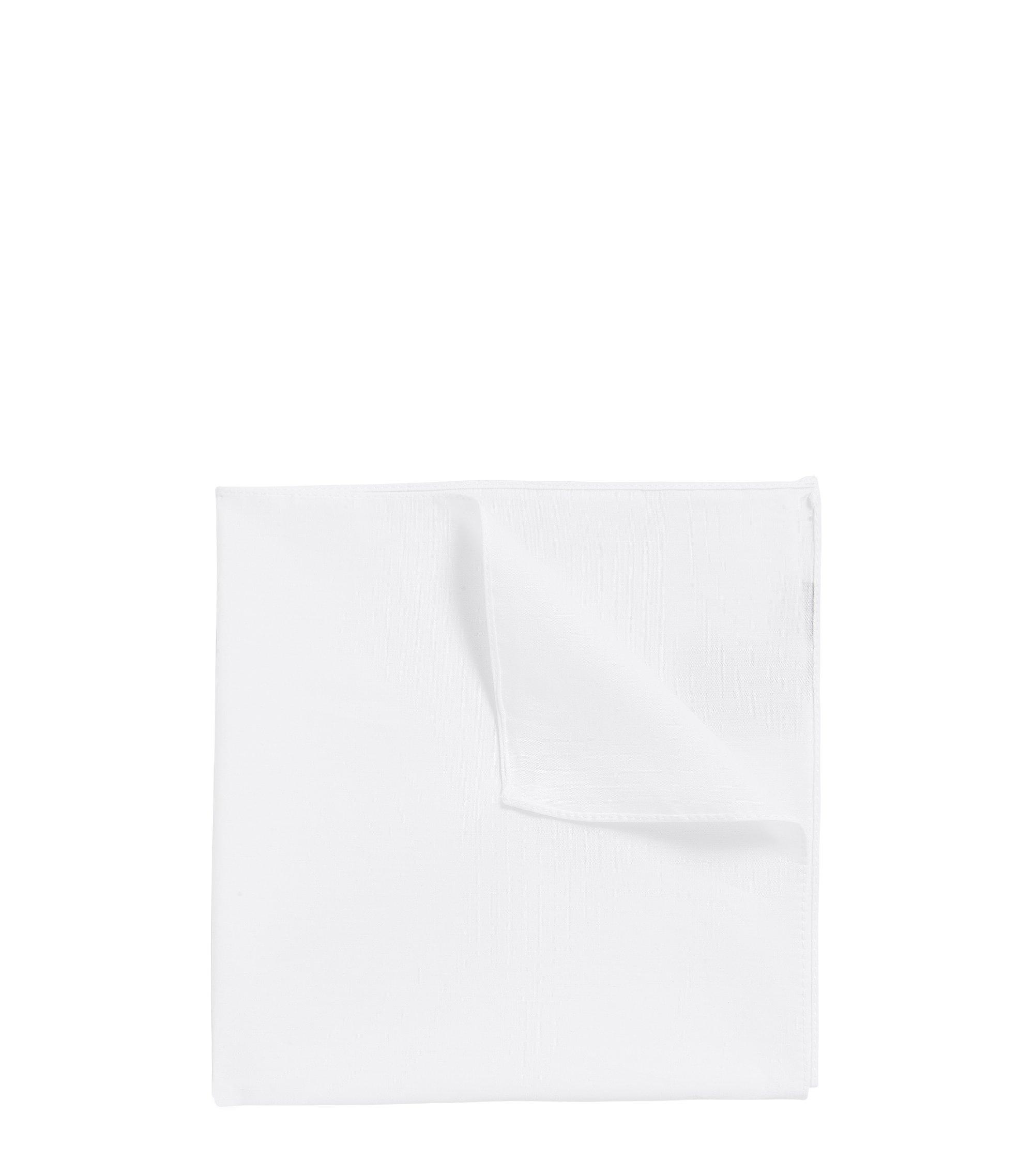 Jacquard pocket square in pure cotton, White