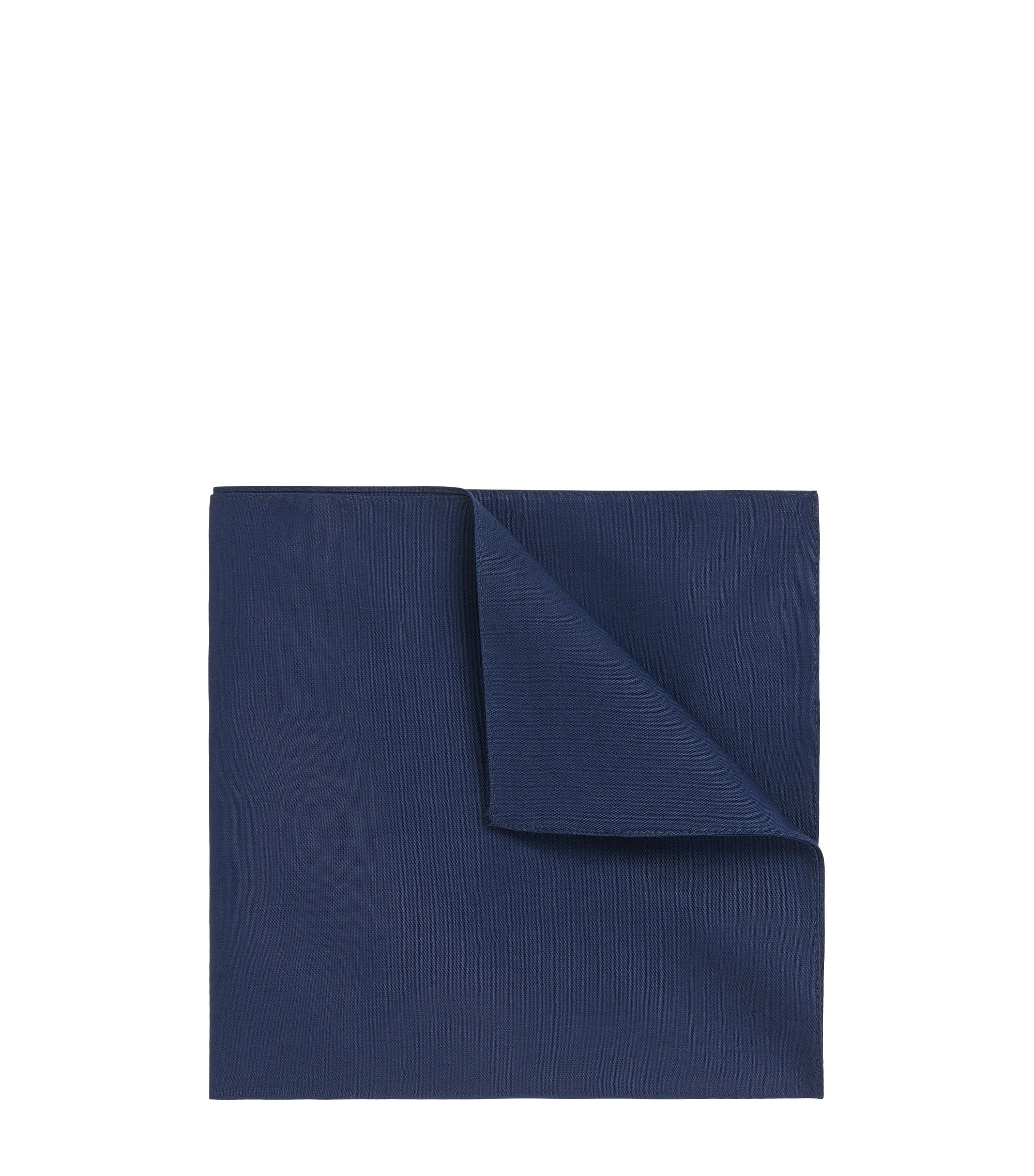 Jacquard pocket square in pure cotton, Dark Blue