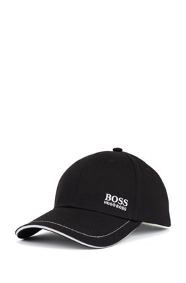 Cotton-twill cap with lasered logo closure, Black