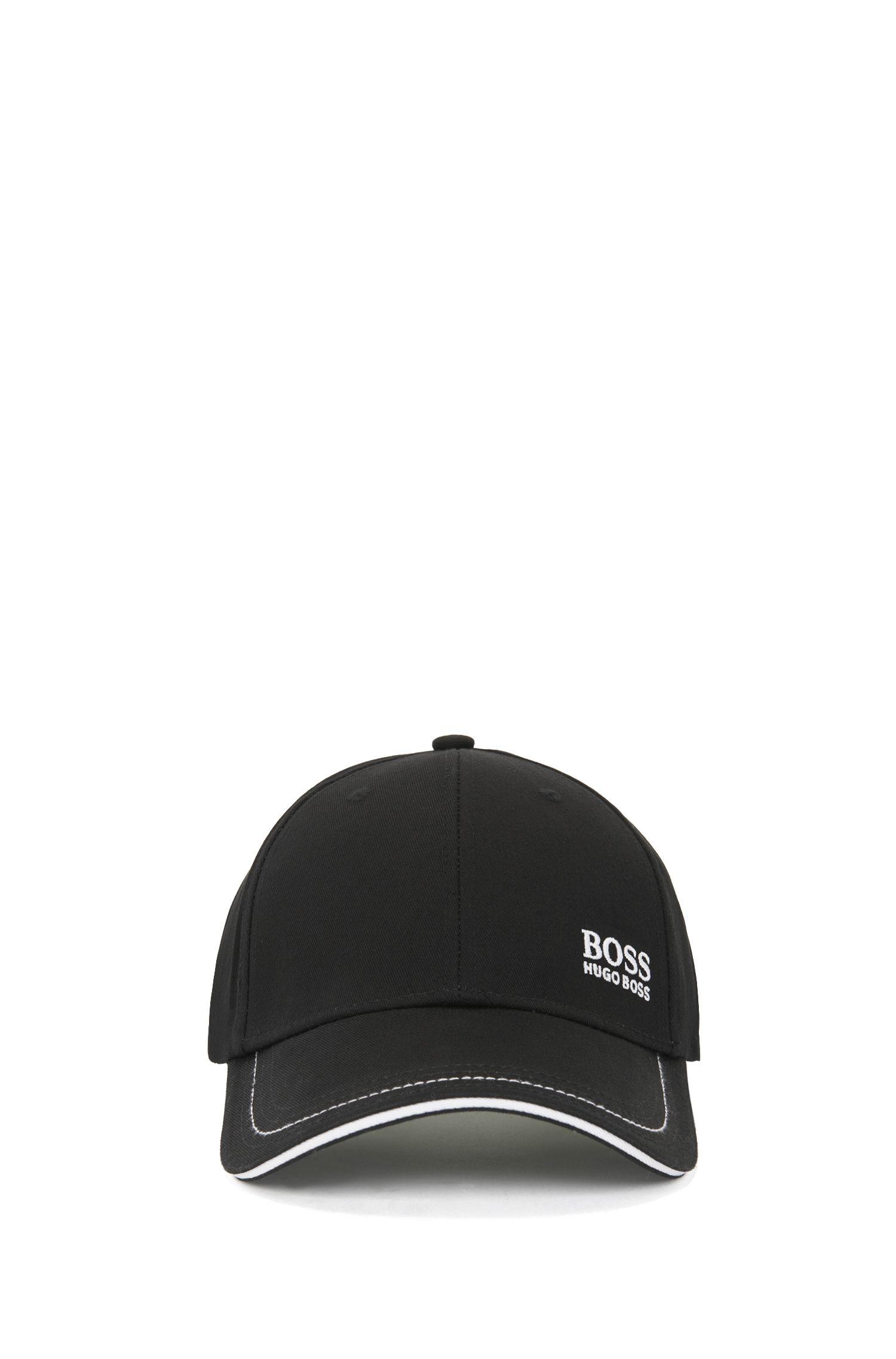 Cap aus Baumwolle mit Logo-Stickerei, Schwarz