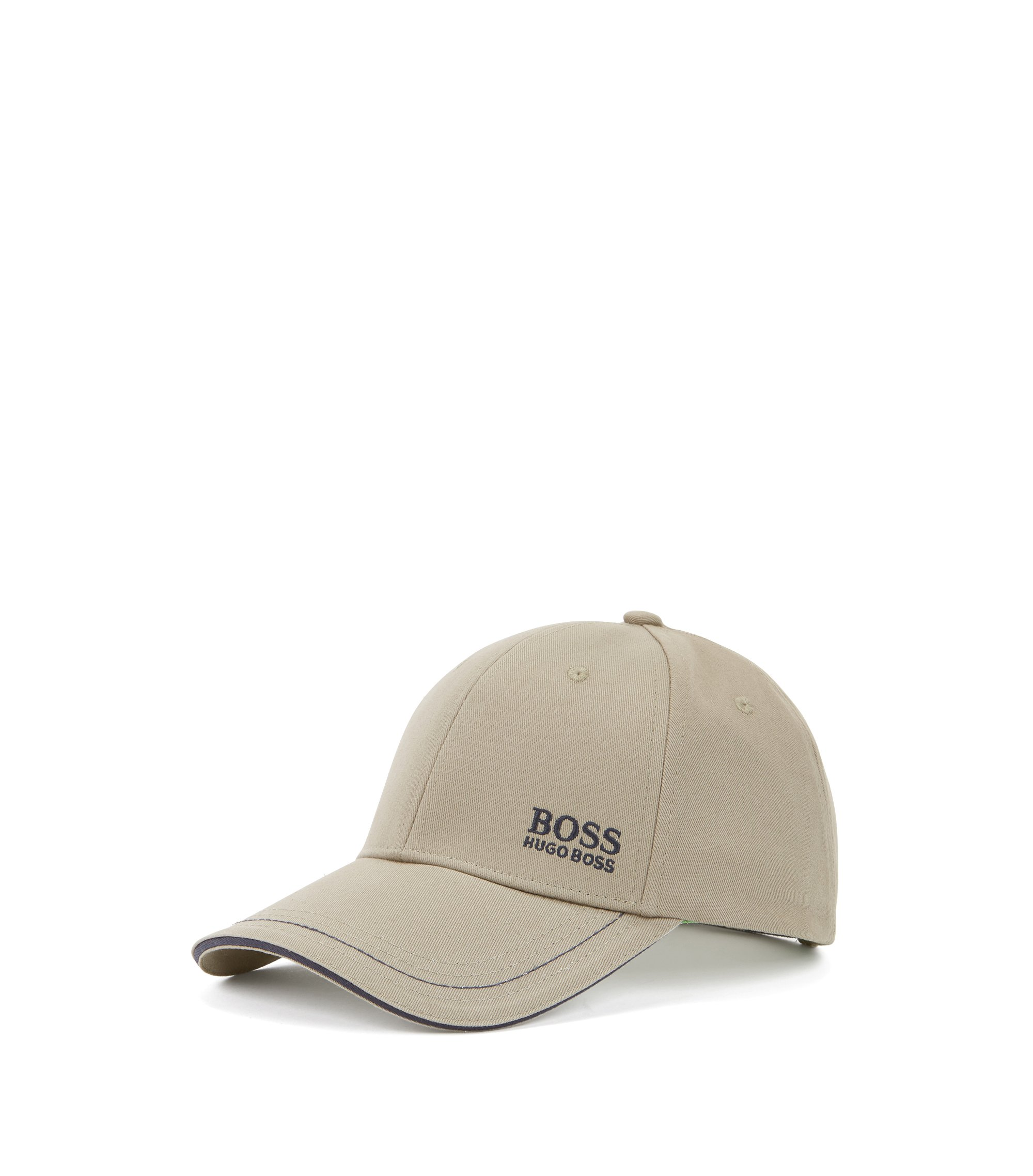 Baseball cap in cotton twill with embroidered logo , Beige