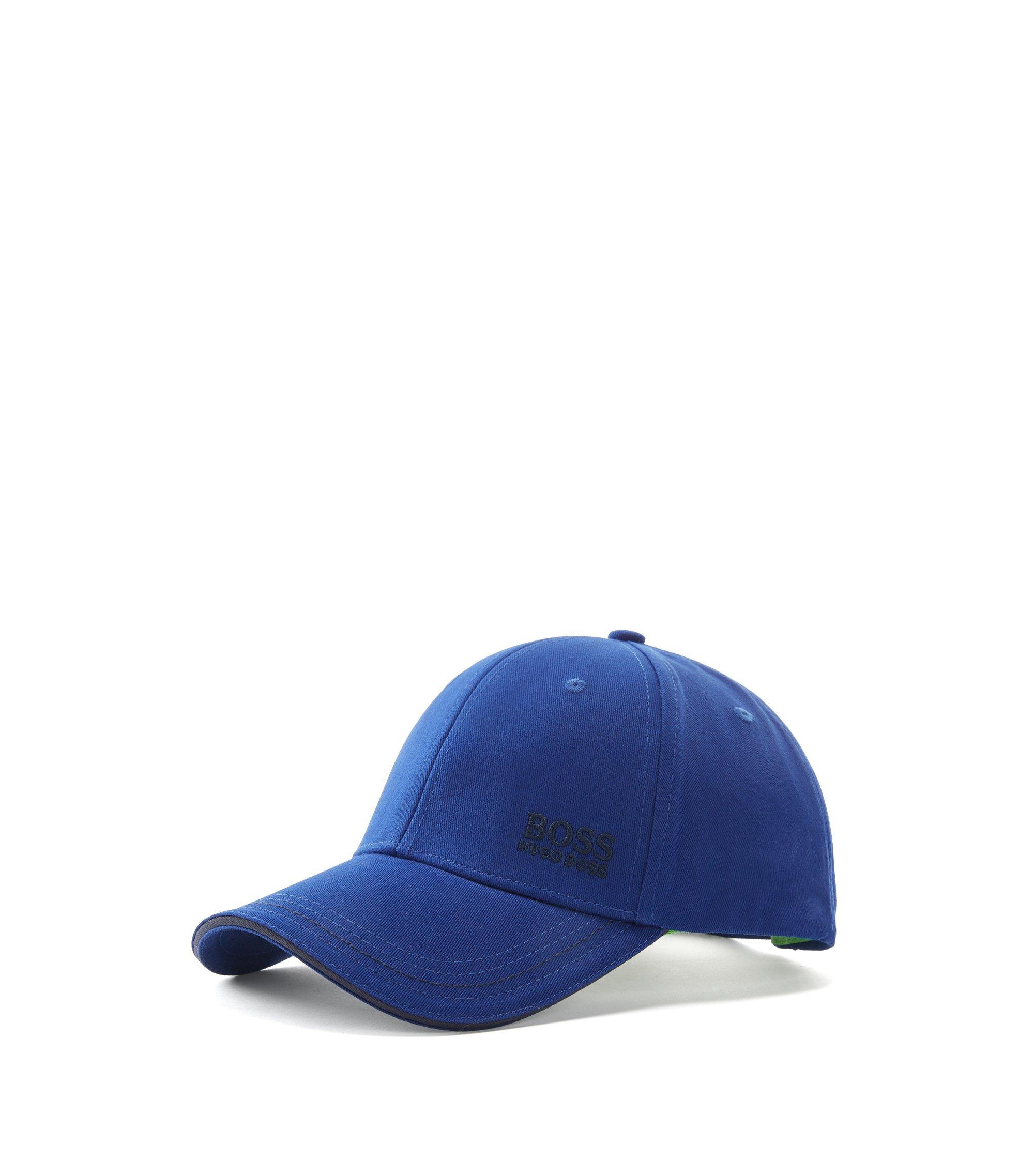 Gorra de béisbol en sarga de algodón con logo bordado , Azul oscuro
