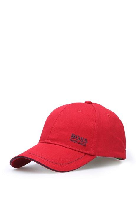 Gorra de béisbol en sarga de algodón con logo bordado , Rojo