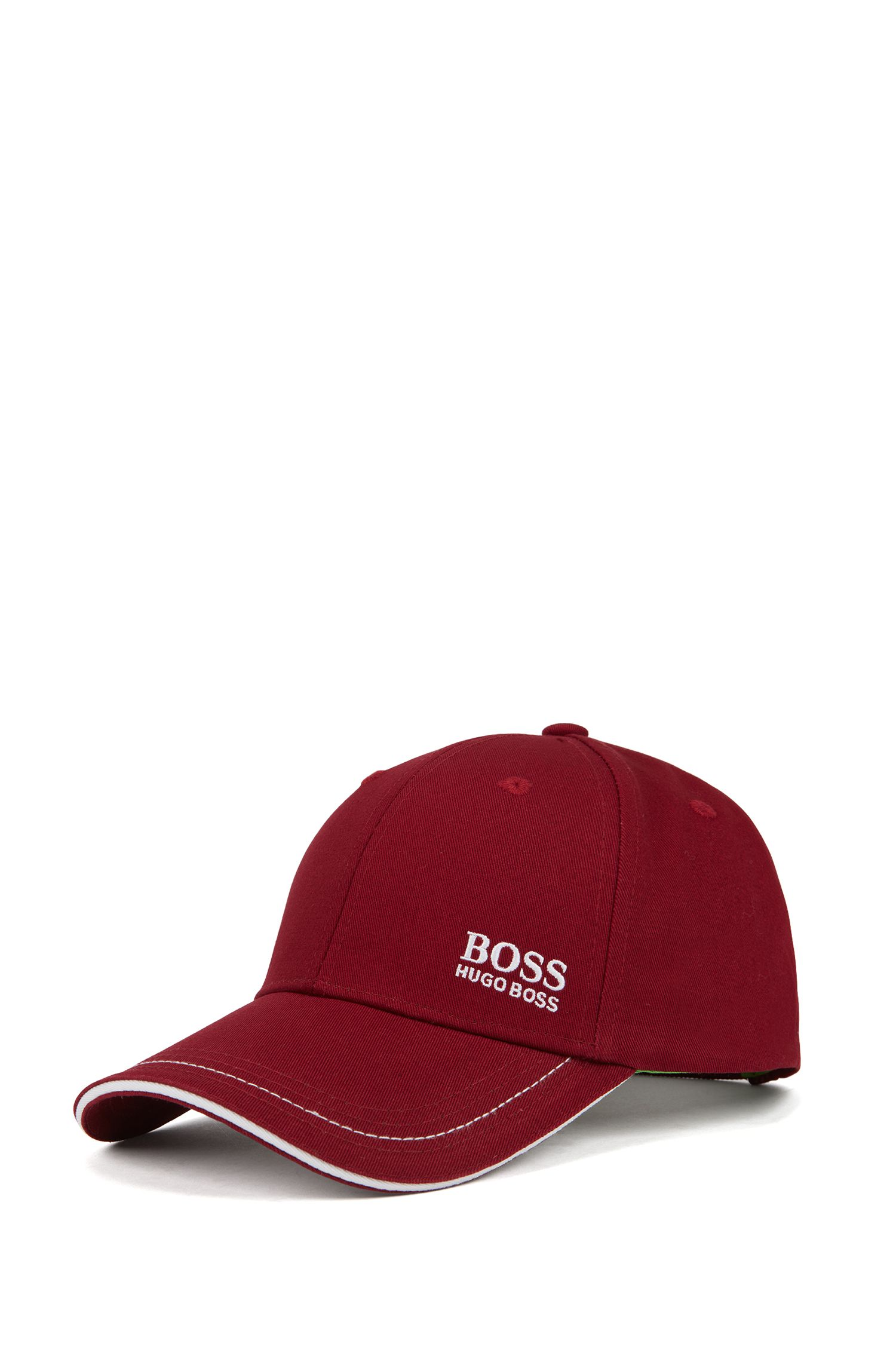 Gorra de béisbol en sarga de algodón con logo bordado , Rosa oscuro
