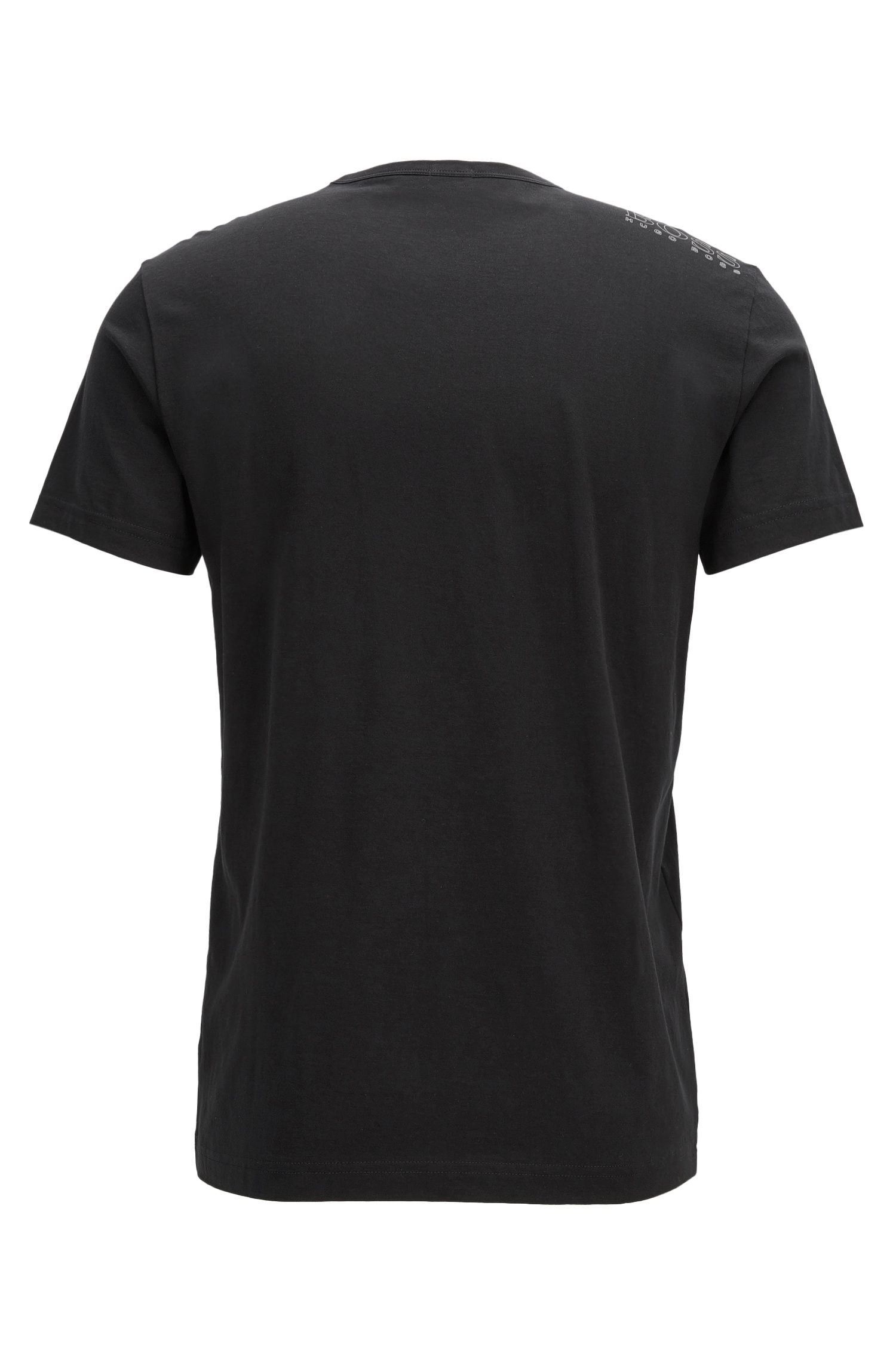 Regular-fit T-shirt met contrastdetail, Zwart