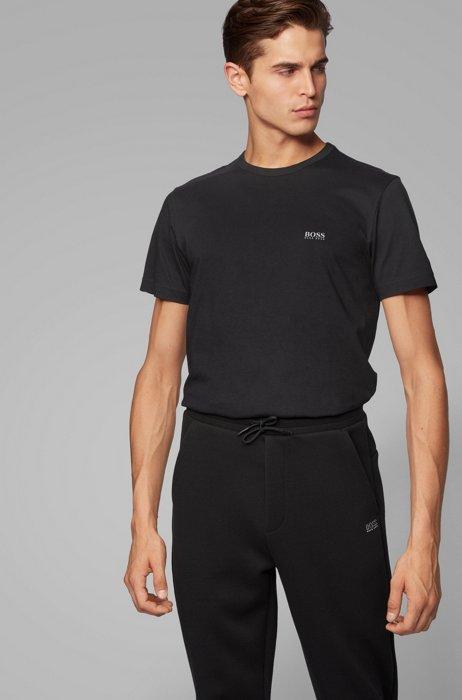 Regular-fit T-shirt met contrastdetail, Zwart