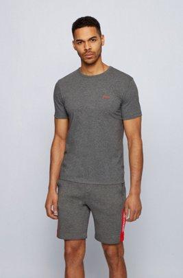 コントラストディテールをあしらった、レギュラーフィットのTシャツ , グレー