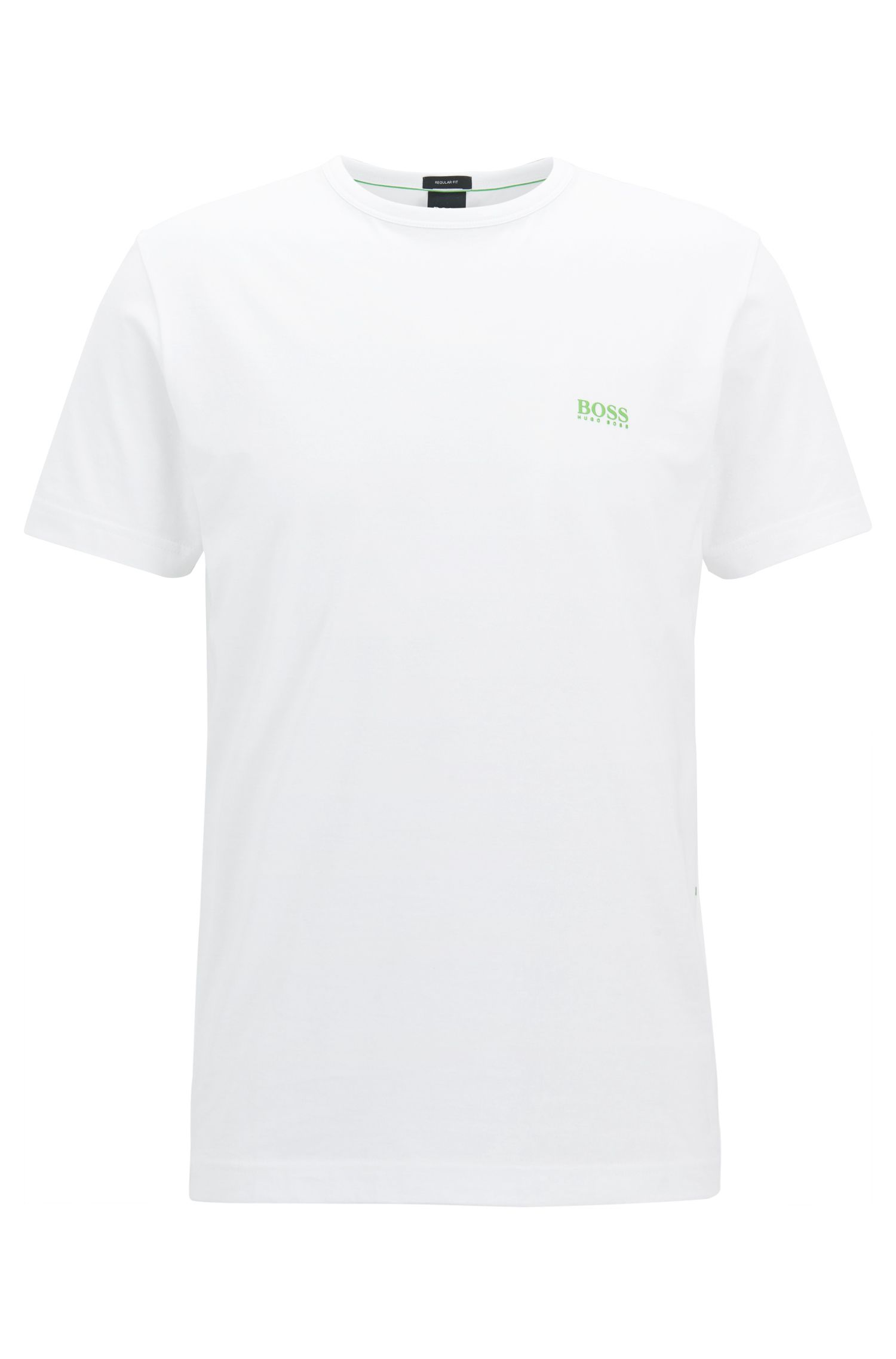 Regular-fit T-shirt met contrastdetail, Wit