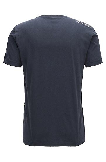饰有对比细节的常规版T恤,  410_海军蓝色